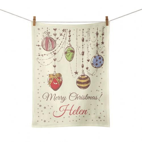 Personalised Christmas Baubles Tea Towel - Vintage Design